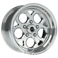 15x10 Vision Sport Mag Polished Magnum Pro Drag Racing Wheel 5x4.75 No Weld 4.5