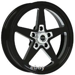 17x4.5 Vision Sport Star II Black Alumastar Pro Drag Race Wheel 5x4.5 No Weld
