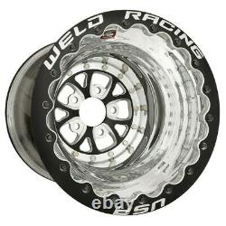 2 15x12 Weld Racing V-series Black Double Bead Lock Drag Wheels 5x4.5 6bs