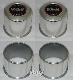 (2) OPEN (2) CLOSED 4x4 WELD ALUMINUM WHEEL RIM CENTER CAPS FITS 4.25 DIA BORE
