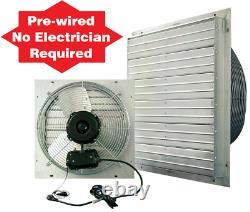 24 Exhaust Shutter Fan 2 Speed Wall Mount Welding Shop Fans Barn Attic 5850 CFM