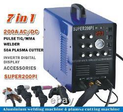 7in1 ALUMINIUM WELDER 50A PLASMA CUTTER 200A ACDC PULSE TIG/MMA WELDING MACHINE