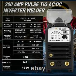HZXVOG AC/DC Aluminum TIG Welder 200A 220V-240V HF MMA Stick TIG Welding Machine